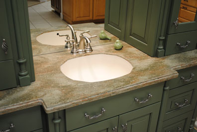 green_granite_countertop_nickel_faucet_green_painted_cabinets